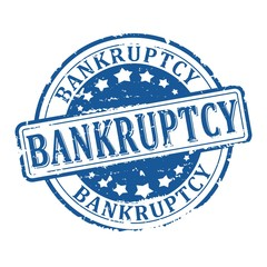 Damaged round blue stamp with the word - bankruptcy - vector eps
