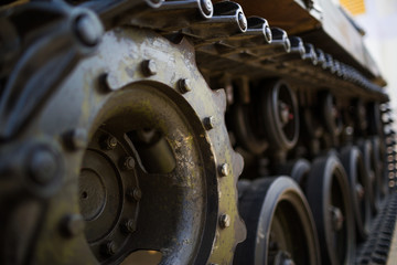 metal wheel of army tank in peace or war of the world