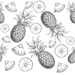 hand drawn seamless pattern a pineapple