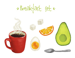 Breakfast icon set with coffee, egg and avocado