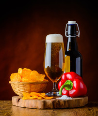 Beer and Potato Chips with Pepper