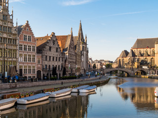 The historic center of Ghent, channel and embankment. Ghent, Belgium