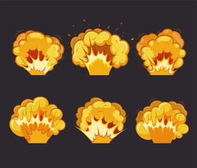 Cartoon explosion effects with flash.