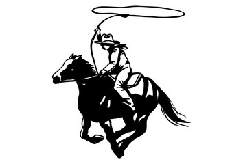Cowboy with lasso on horse silhouette, vector