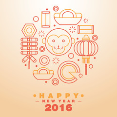 Happy Chinese New Year 2016 Greeting Card Icons Symbol - Vector
