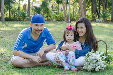 Asian family sitting in park