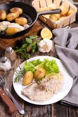 fried fish and roast potato
