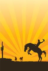 Cowboy riding wild horse silhouette, vector