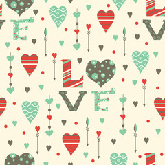 Romantic hearts seamless pattern. Valentine's day. Holiday background.