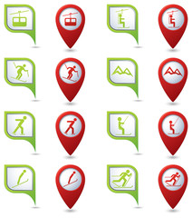 Winter sport icons set on green and red map pointers.
