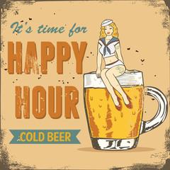 Happy hour sign, sailor girl sitting on a beer mug