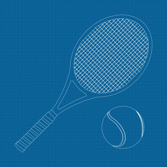 Tennis racket and ball .  illustration on Blueprint Background.