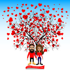 Tree with hearts and people