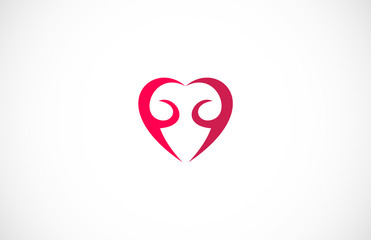 abstract red love logo