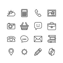 line phone icons set. Icons for business
