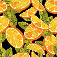 Seamless pattern background with orange fruits.