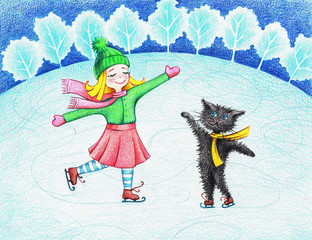 Child's picture of  girl and cat skating by the color pencils