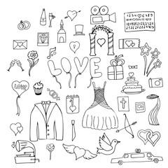 Set wedding symbols and signs