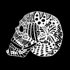 hand draw a skull zentangle trend patterns