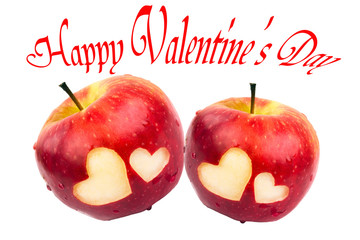 Happy Valentine's Day, two apples with hearts on a white background