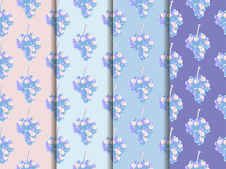 Bunch of grapes. Set of seamless patterns. Wallpapers with grapes. Rose quartz and serenity violet colors.
