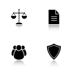 Lawyer drop shadow icons set