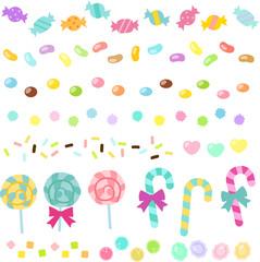 キャンディ、アメのライン素材セット