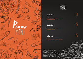 Pizza menu the names of dishes of Pizza, Vector set