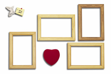 wooden frames, heart and an inscription with the butterfly on a