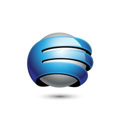 3D Sphere Letter E Logo