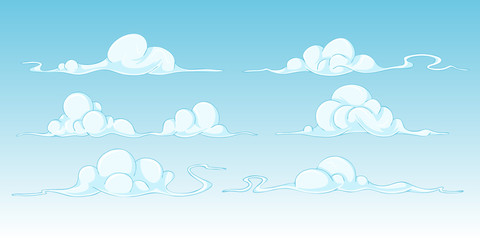 Set of bright cartoon clouds