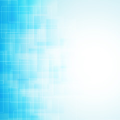 abstract blue background with transparent lines and squares. vec