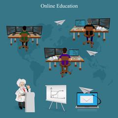 Distance online learning, vector illustration