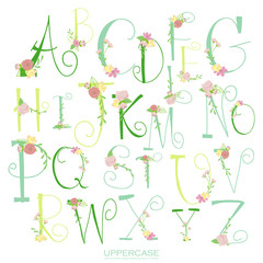 Black pink green colorful ink alphabet letters.Hand drawn writte