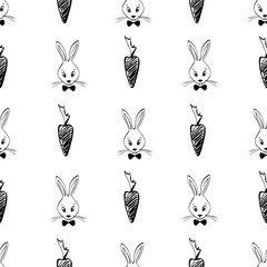 Deurstickers Uilen cartoon Seamless Pattern With Rabbits And Carrots.