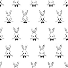 Seamless Pattern With Rabbits Faces.