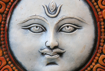 Close up shot of lord Shiva's statue