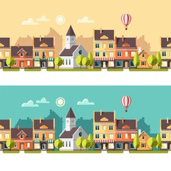 Urban landscape and city life. Spring. Vector illustration.