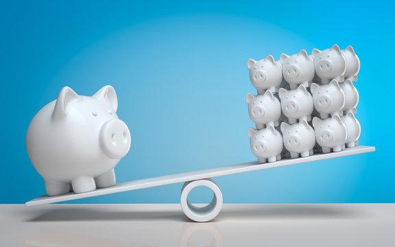 3d Sparschwein Geld streuen