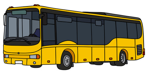 Yellow city bus / Hand drawing, vector illustration