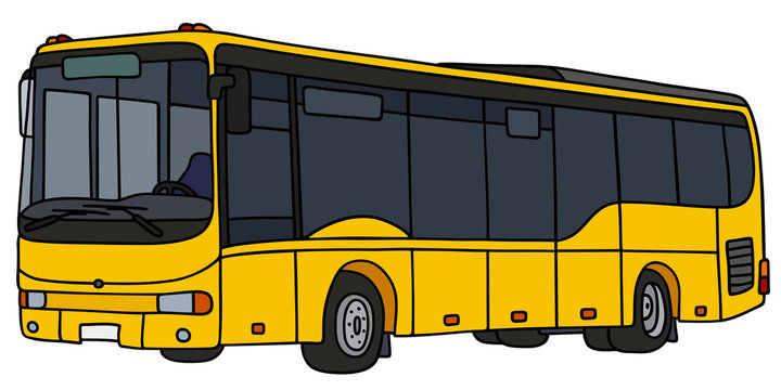 Yellow city bus / Hand drawing, vector illustration