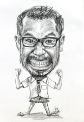 Caricature drawing of man on white paper