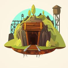 Mining cartoon illustration