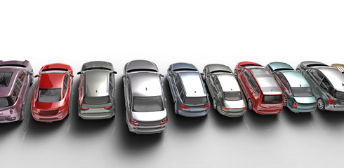 cars on white background
