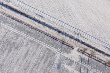 Keuken foto achterwand Trappen aerial view over the harvest fields in winter