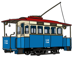 Classic blue tramway / Hand drawing, vector illustration