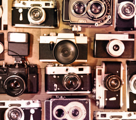 Old vintage cameras background