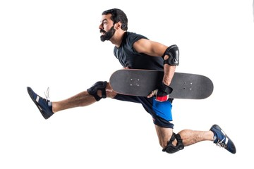 Skater running fast