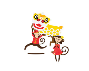 Chinese New Year 2016 Monkey Character with  Dragon
