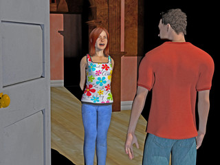 digital computer rendered illustration of a young couple at the front door of a home